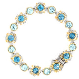 Michael Valitutti Palladium Silver Choice of Length London Blue & Sky Blue Topaz Tennis Bracelet