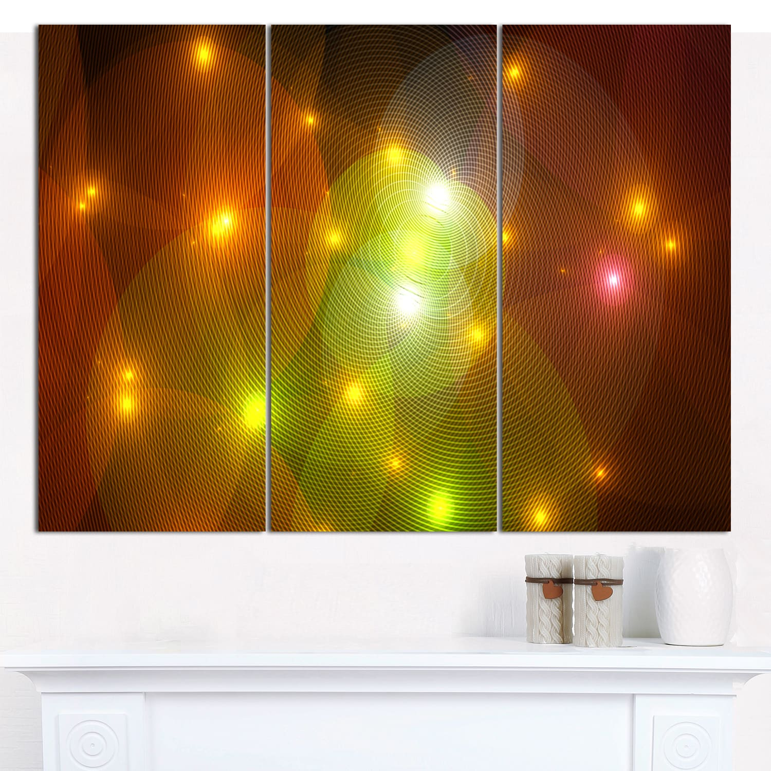 Designart \'Golden Fractal Lights in Fog\' Triptych Canvas Art Print ...