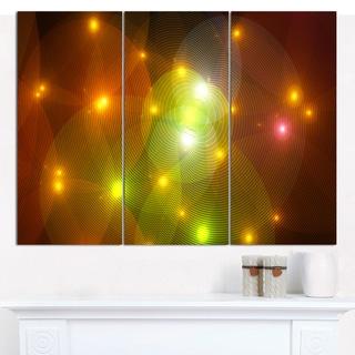 """Designart 'Golden Fractal Lights in Fog' Triptych Canvas Art Print - 3 Panels 36""""x28"""""""