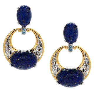 Michael Valitutti Palladium Silver Lapis Lazuli & London Blue Topaz Drop Earrings