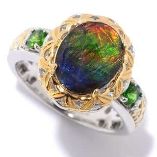 Michael Valitutti Palladium Silver Oval Ammolite Triplet & Chrome Diopside North-South Ring|https://ak1.ostkcdn.com/images/products/14584402/P21130907.jpg?impolicy=medium
