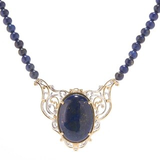 Michael Valitutti Palladium Silver Oval Lapis Lazuli Beaded Statement Necklace with Magnetic Clasp