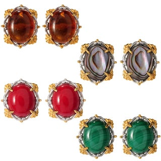 Michael Valitutti Palladium Silver Oval Gemstone Button Stud Earrings (Option: Amber)