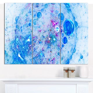 """Designart 'Blue Fractal Planet of Bubbles' Triptych Canvas Art Print - 3 Panels 36""""x28"""""""