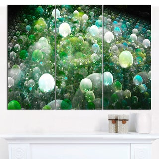 "Designart 'Green Fractal Molecule Pattern' Triptych Canvas Art Print - 3 Panels 36""x28"""