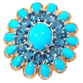 Michael Valitutti Palladium Silver Sleeping Beauty Turquoise & London Blue Topaz Flower Ring