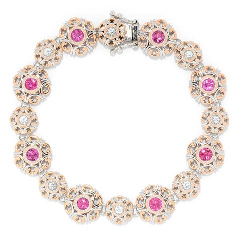 Michael Valitutti Palladium Silver Choice of Size Rubellite & White Zircon Disc Link Bracelet