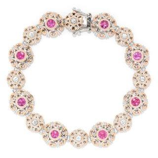 Michael Valitutti Palladium Silver Choice of Size Rubellite & White Zircon Disc Link Bracelet