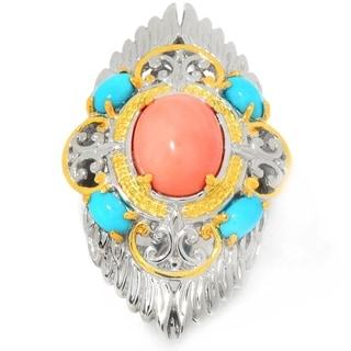 Michael Valitutti Palladium Silver American Story Salmon Bamboo Coral & Sleeping Beauty Turquoise Ring