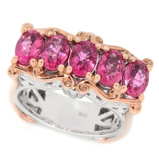 Michael Valitutti Palladium Silver Rubellite Five-Stone East-West Ring
