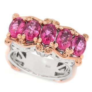 Michael Valitutti Palladium Silver Rubellite Five-Stone East-West Ring|https://ak1.ostkcdn.com/images/products/14584434/P21130915.jpg?impolicy=medium
