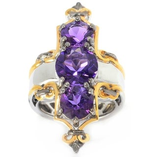 Michael Valitutti Palladium Silver Congo Amethyst Three-Stone Elongated Ring
