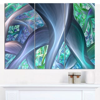 """Designart 'Blue Fractal Exotic Plant Stems' Abstract Wall Art on Canvas - 3 Panels 36""""x28"""""""