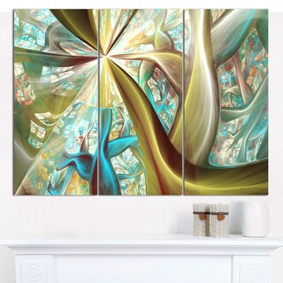 """Designart 'Golden Fractal Exotic Plant Stems' Abstract Wall Art on Canvas - 3 Panels 36""""x28"""""""