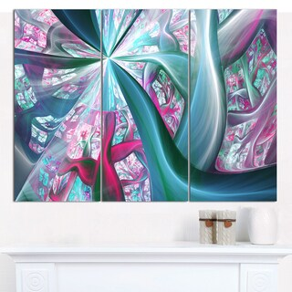 """Designart 'Blue Pink Fractal Plant Stems' Abstract Wall Art on Canvas - 3 Panels 36""""x28"""""""
