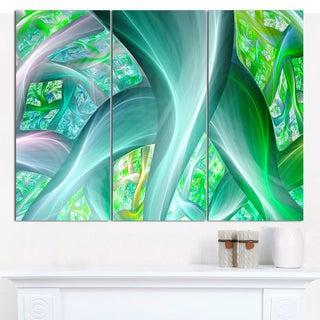 "Designart 'Green Fractal Exotic Plant Stems' Triptych Canvas Art Print - 3 Panels 36""x28"""