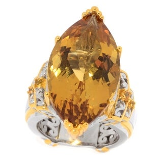 Michael Valitutti Palladium Silver Marquise Shaped Citrine & Yellow Sapphire Cocktail Ring