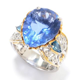 Michael Valitutti Palladium Silver Pear Shaped Color Shift Fluorite & London Blue Topaz Ring