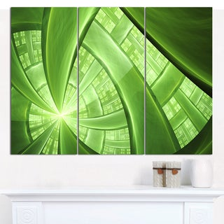 """Designart 'Green Fractal Exotic Plant Stems' Abstract Wall Art on Canvas - 3 Panels 36""""x28"""""""