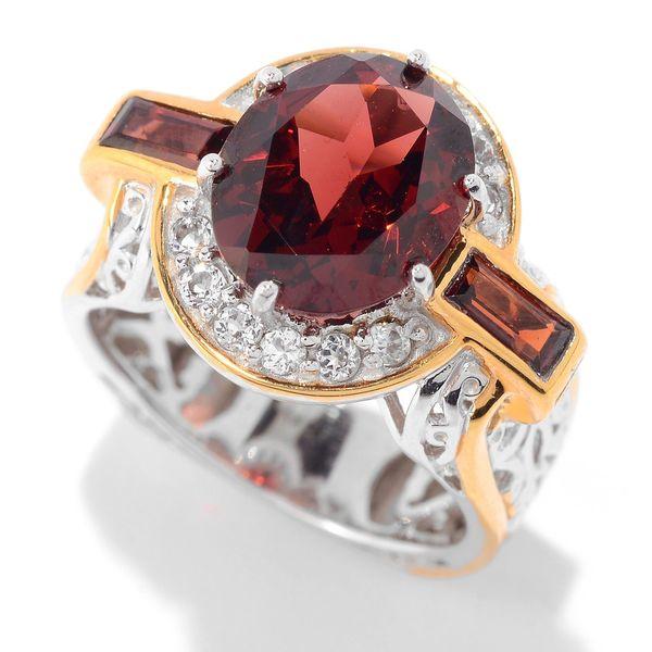 Michael Valitutti Palladium Silver Multi Shape Garnet & White Topaz Halo Ring