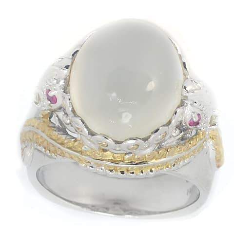 Michael Valitutti Palladium Silver White Moonstone, Ruby & White Sapphire Ring- Size 7