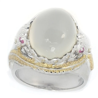Michael Valitutti Palladium Silver Two-Tone Moonstone and Ruby Ring- Size 7