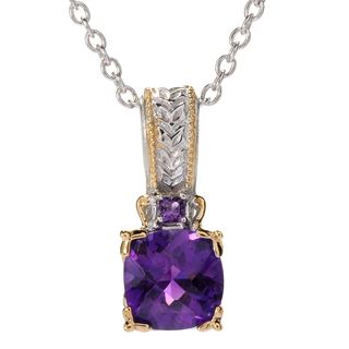 Michael Valitutti Palladium Silver Cushion Tanzanite Purple Amethyst Checktop Pendant