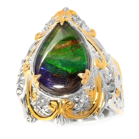 Michael Valitutti Palladium Silver Pear Shaped Ammolite Triplet & White Zircon Ring
