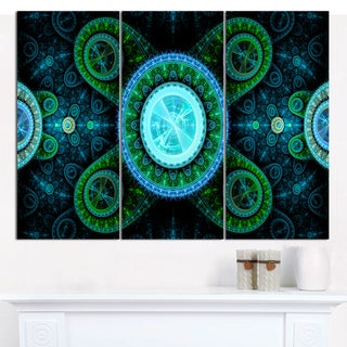 """Designart 'Bright Blue Psychedelic Relaxing Art' Abstract Wall Art on Canvas - 3 Panels 36""""x28"""""""