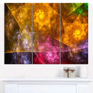 "Designart 'Yellow Pink Rotating Polyhedron' Abstract Wall Art on Canvas - 3 Panels 36""x28"""