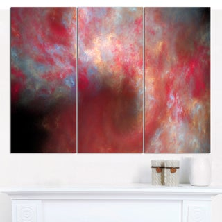 "Designart 'Red Starry Fractal Sky' Abstract Wall Artwork - 3 Panels 36""x28"""