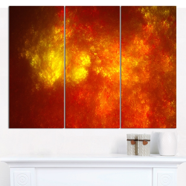 "Designart 'Orange Starry Fractal Sky' Abstract Wall Artwork - 3 Panels 36""x28"""