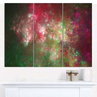 "Designart 'Colorful Starry Fractal Sky' Abstract Wall Artwork - 3 Panels 36""x28"""