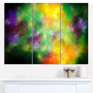 "Designart 'Colorful Sky with Blur Stars' Triptych Canvas Art Print - 3 Panels 36""x28"""