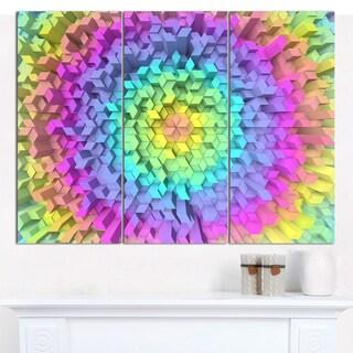 "Designart 'View of Colorful Geometric Shapes' Triptych Canvas Art Print - 3 Panels 36""x28"""
