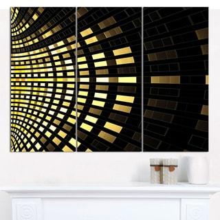 "Designart 'Abstract Fractal Gold Square Pixel' Triptych Canvas Art Print - 3 Panels 36""x28"""
