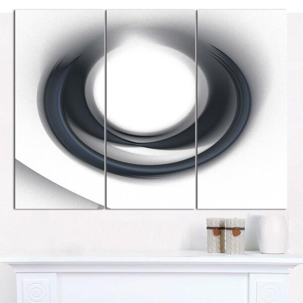 "Designart 'Large Fractal Black Circle on White' Triptych Canvas Art Print - 3 Panels 36""x28"""