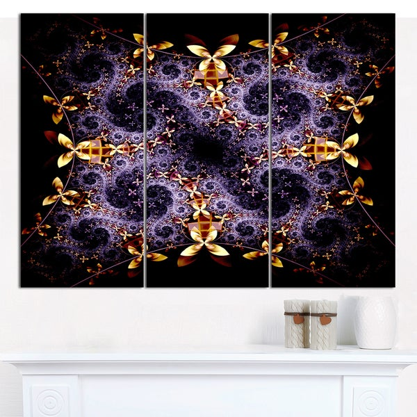 "Designart 'Yellow and Violet Fractal Flower' Triptych Canvas Art Print - 3 Panels 36""x28"""