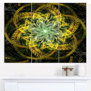 "Designart 'Yellow and Green Fractal Flower' Abstract Wall Art on Canvas - 3 Panels 36""x28"""