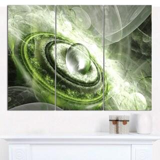 "Designart 'Green Fractal Flying Saucer' Abstract Wall Art on Canvas - 3 Panels 36""x28"""