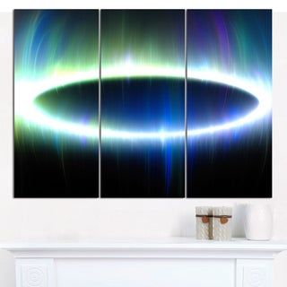 "Designart 'Large Blue Oval Fractal Light' Abstract Wall Art on Canvas - 3 Panels 36""x28"""