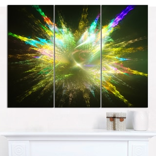 "Designart 'Fractal Explosion of Paint Drops' Abstract Wall Art on Canvas - 3 Panels 36""x28"""
