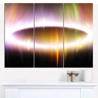 "Designart 'Large Oval of Northern Lights' Triptych Canvas Art Print - 3 Panels 36""x28"""