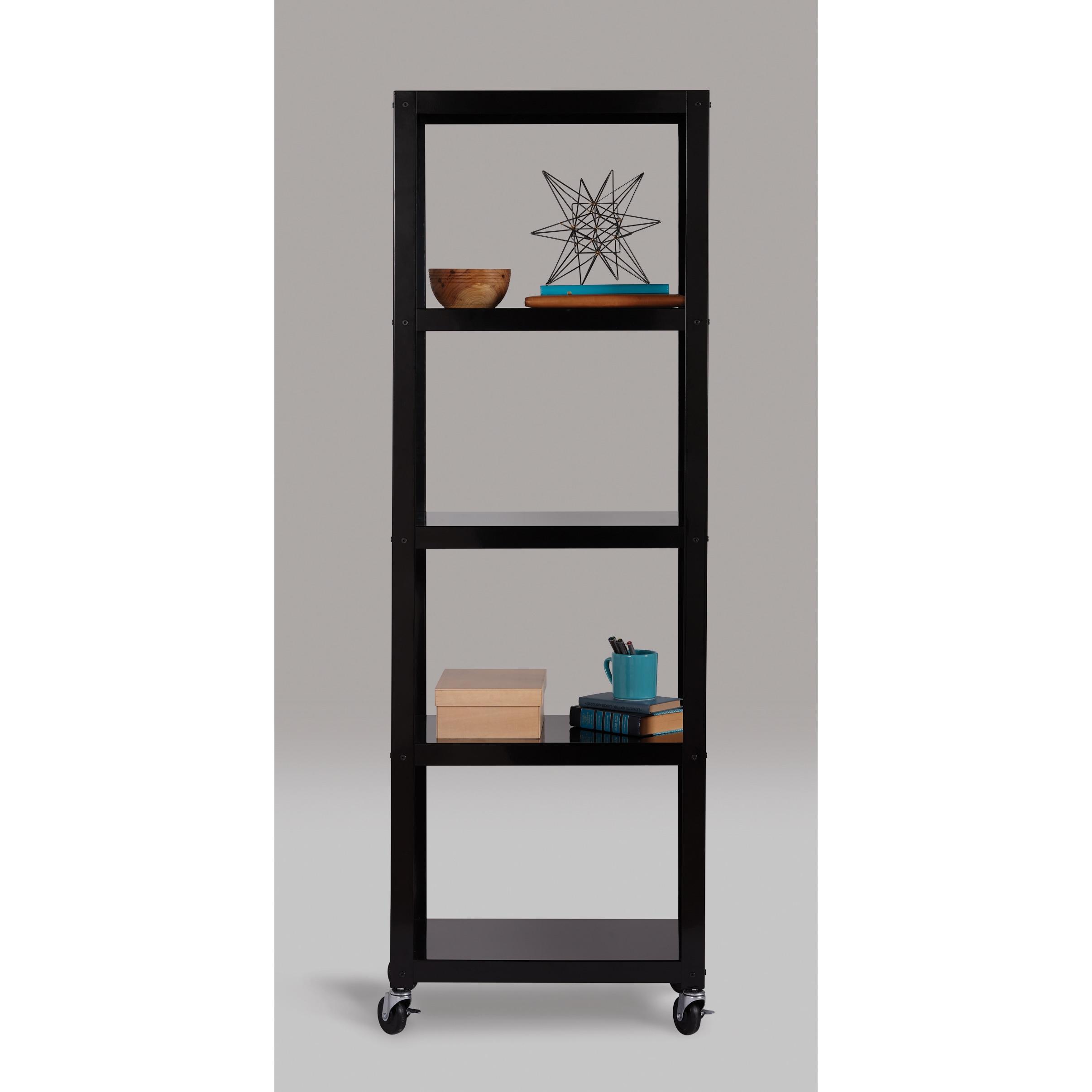 Carbon Loft Niepce Industrial Modern Mobile White 5 Shelf Bookcase Cart
