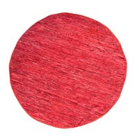Rodeo Collection Cotton and Leather Indoor Accent Rug - 6' Round