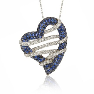 Suzy Levian Sterling Silver Blue & White Sapphire and Diamond Accent Wrapped Heart Pendant