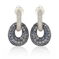 Suzy Levian Sterling Silver Blue & White Sapphire and Diamond Accent Double Oval Dangle Earrings