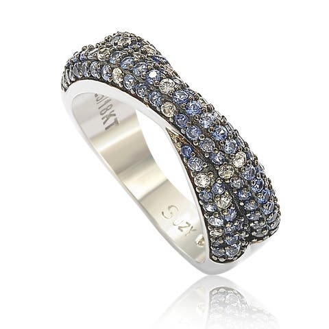 Suzy L. Sterling Silver Blue & White Sapphire & Diamond Accent Petite Pave Crossover Ring