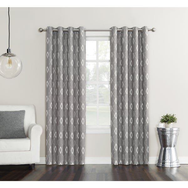 Sun Zero Gilby Printed Woven Texture Energy Efficient Blackout Curtain Panel