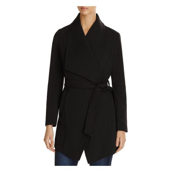 T Tahari Abbey Black Draped Coat